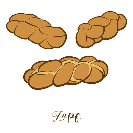 Colored drawing of Zopf bread. Vector illustration of Leavened, White food, usually known in Switzerland, Germany. Colored Bread sketches.