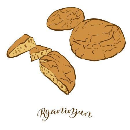 Colored drawing of Ryaninjun bread. Vector illustration of Leavened food, usually known in United States, New England. Colored Bread sketches.
