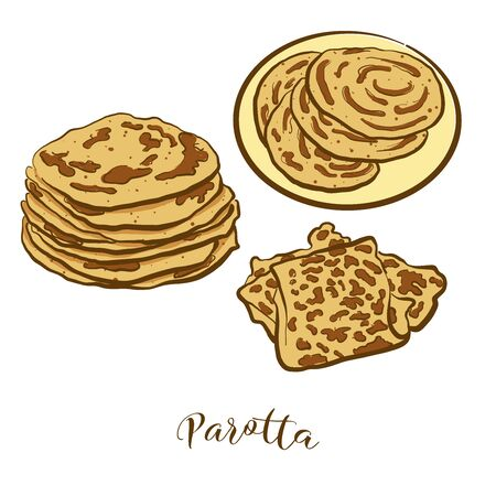Colored drawing of Parotta bread. Vector illustration of Flatbread food, usually known in India. Colored Bread sketches.