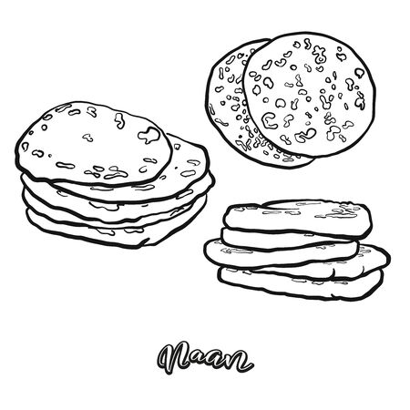 Naan food sketch separated on white. Vector drawing of Flatbread, usually known in Asia. Food illustration series. Иллюстрация