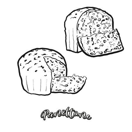 Boceto de comida Panettone separado en blanco. Dibujo vectorial de pan dulce, generalmente conocido en Italia. Serie de ilustraciones de alimentos. Ilustración de vector