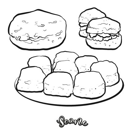 Scone food sketch separated on white. Vector drawing of Quick bread, usually known in United Kingdom. Food illustration series.