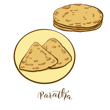 Colored drawing of Paratha bread. Vector illustration of Flatbread food, usually known in India, Pakistan. Colored Bread sketches. Illustration