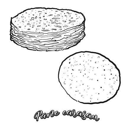 Pane carasau food sketch separated on white. Vector drawing of Flatbread, usually known in Sardinia. Food illustration series.