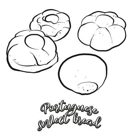 Portuguese sweet bread food sketch separated on white. Vector drawing of Sweet bread, usually known in Portugal. Food illustration series.