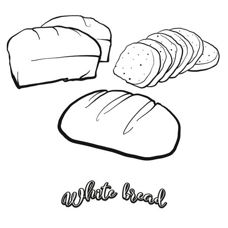 White bread food sketch separated on white. Vector drawing of White, usually known in Europe, America. Food illustration series. Illusztráció