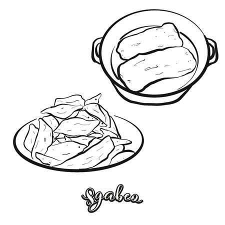 Sgabeo food sketch separated on white. Vector drawing of Leavened, usually known in Italy, Lunigiana. Food illustration series. Vettoriali