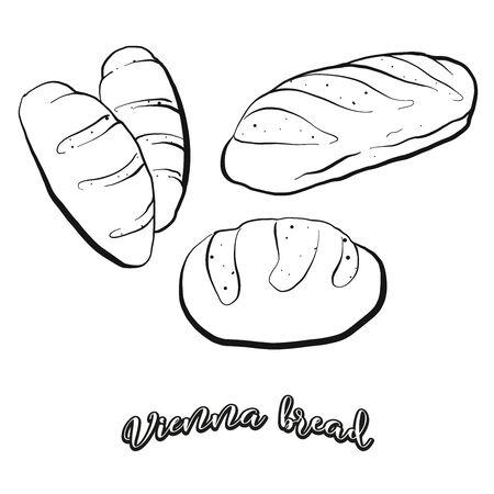 Wiener Brotlebensmittelskizze getrennt auf Weiß. Vektorgrafik von Sauerteig, normalerweise bekannt in Österreich, Wien. Lebensmittelillustrationsserie. Vektorgrafik