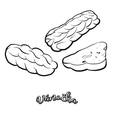 Váno�ka food sketch separated on white. Vector drawing of Leavened, usually known in Czech Republic, Slovakia. Food illustration series.