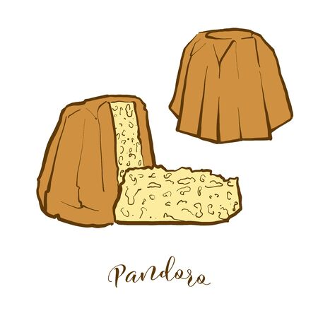 Colored drawing of Pandoro bread. Vector illustration of Holiday bread food, usually known in Italy. Colored Bread sketches. Vettoriali