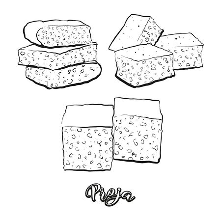 Proja food sketch separated on white. Vector drawing of Cornbread, usually known in Serbia. Food illustration series.