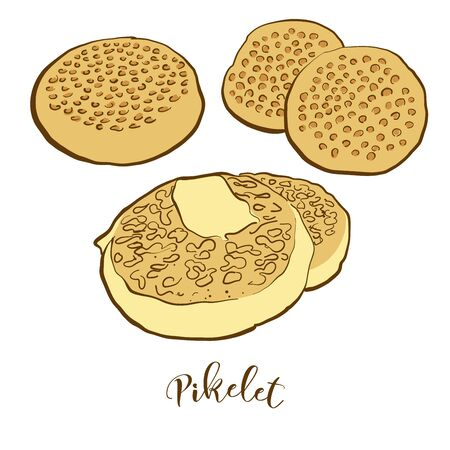 Colored drawing of Pikelet bread. Vector illustration of Pancake food, usually known in United Kingdom, Scotland. Colored Bread sketches. Illustration