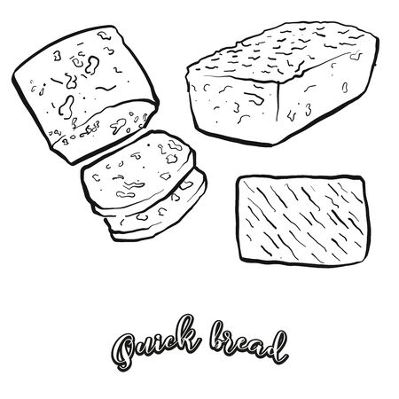 Quick bread food sketch separated on white. Vector drawing of Leavened, usually known in North America. Food illustration series. Çizim