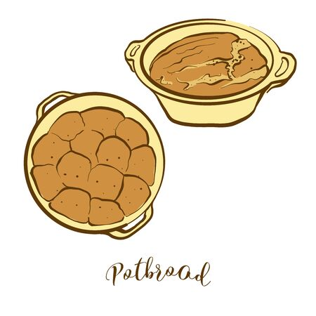 Colored drawing of Potbrood bread. Vector illustration of Leavened food, usually known in South Africa. Colored Bread sketches.