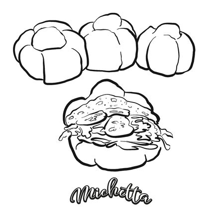 Michetta food sketch separated on white. Vector drawing of Leavened, usually known in Italy. Food illustration series.