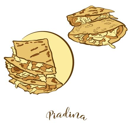 Colored drawing of Piadina bread. Vector illustration of Flatbread food, usually known in Italy. Colored Bread sketches.