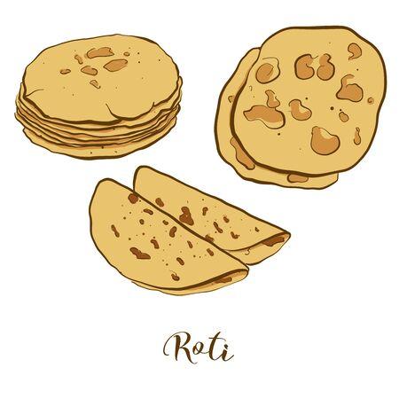 Dessin en couleur de pain Roti. Illustration vectorielle de la nourriture Flatbread, généralement connue en Inde, au Pakistan. Croquis de pain de couleur. Vecteurs