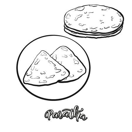 Paratha food sketch separated on white. Vector drawing of Flatbread, usually known in India, Pakistan. Food illustration series.