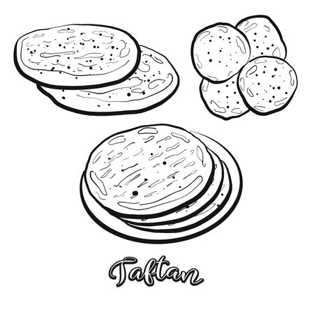 Taftan food sketch separated on white. Vector drawing of Leavened, usually known in Iran, Pakistan, India. Food illustration series. Vettoriali