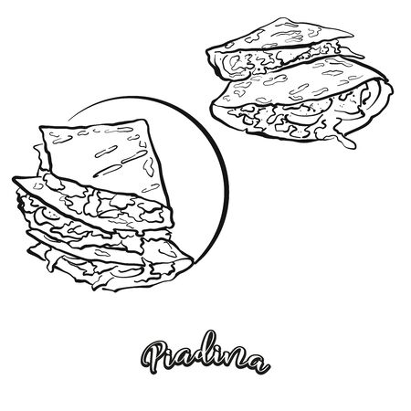 Piadina food sketch separated on white. Vector drawing of Flatbread, usually known in Italy. Food illustration series. Иллюстрация
