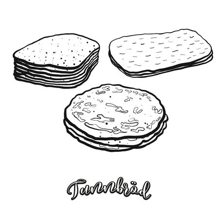 Tunnbröd food sketch separated on white. Vector drawing of Flatbread, usually known in Sweden. Food illustration series.