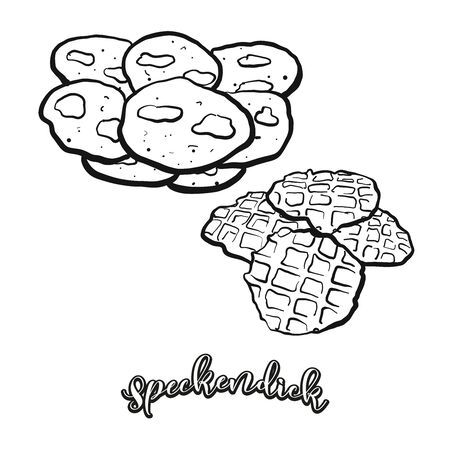 Speckendick food sketch separated on white. Vector drawing of Pancake, usually known in Germany, East Frisia. Food illustration series.
