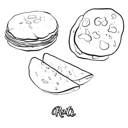 Roti food sketch separated on white. Vector drawing of Flatbread, usually known in India, Pakistan. Food illustration series. Ilustração