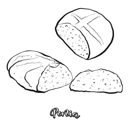 Penia food sketch separated on white. Vector drawing of Sweet bread, usually known in Italy. Food illustration series. 向量圖像