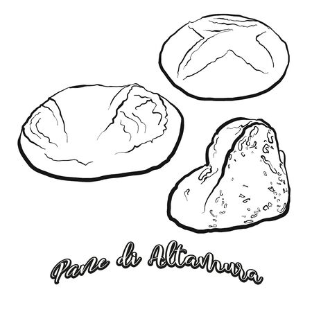 Pane di Altamura food sketch separated on white. Vector drawing of Leavened, usually known in Italy. Food illustration series. Vettoriali
