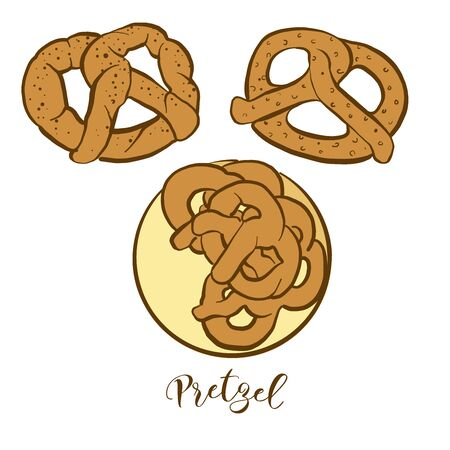 Colored drawing of Pretzel bread. Vector illustration of Dry bread food, usually known in Germany. Colored Bread sketches.