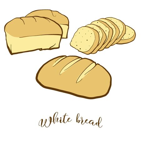 Colored drawing of White bread bread. Vector illustration of White food, usually known in Europe, America. Colored Bread sketches. Illusztráció