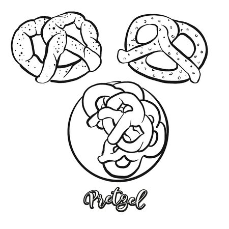Pretzel food sketch separated on white. Vector drawing of Dry bread, usually known in Germany. Food illustration series.