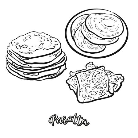 Parotta food sketch separated on white. Vector drawing of Flatbread, usually known in India. Food illustration series.