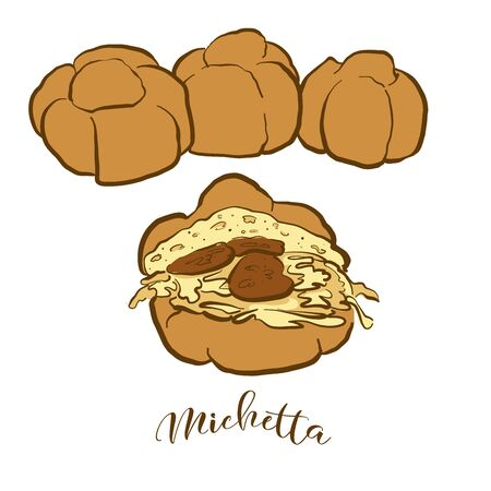 Colored drawing of Michetta bread. Vector illustration of Leavened food, usually known in Italy. Colored Bread sketches.