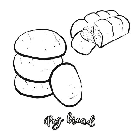 Peg bread food sketch separated on white. Vector drawing of Leavened, lobed loaf, usually known in Jamaica. Food illustration series.
