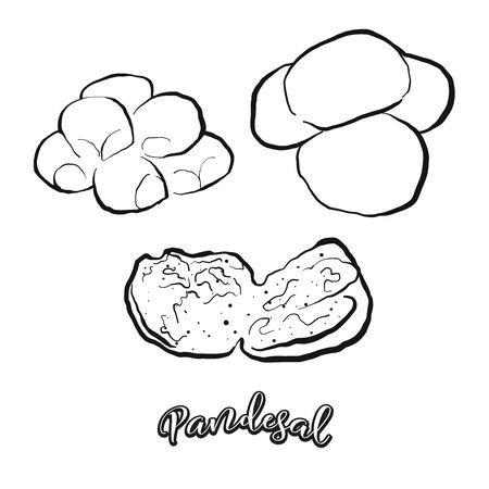 Pandesal food sketch separated on white. Vector drawing of Sweet bread, usually known in Philippines. Food illustration series.