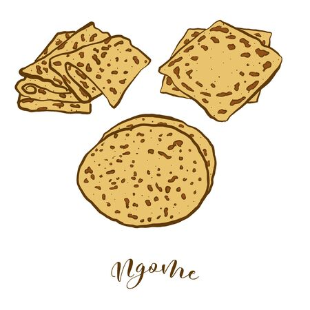 Colored drawing of Ngome bread. Vector illustration of Flatbread food, usually known in Mali. Colored Bread sketches. Ilustrace