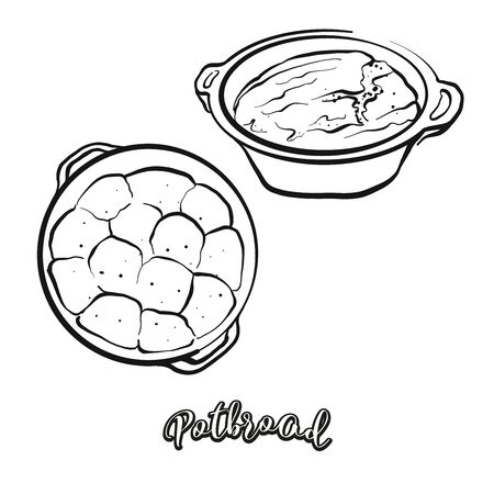 Potbrood food sketch separated on white. Vector drawing of Leavened, usually known in South Africa. Food illustration series. Vettoriali