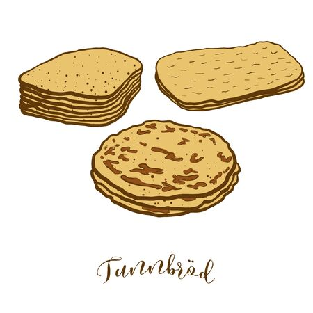 Colored drawing of Tunnbröd bread. Vector illustration of Flatbread food, usually known in Sweden. Colored Bread sketches.