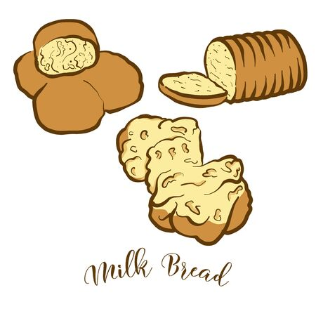 Colored drawing of Milk Bread bread. Vector illustration of Leavened food, usually known in United Kingdom, Japan. Colored Bread sketches.