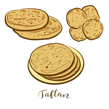 Colored drawing of Taftan bread. Vector illustration of Leavened food, usually known in Iran, Pakistan, India. Colored Bread sketches.