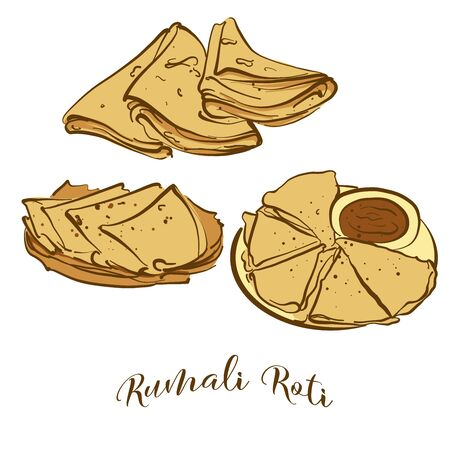 Colored drawing of Rumali Roti bread. Vector illustration of Flatbread food, usually known in India. Colored Bread sketches.