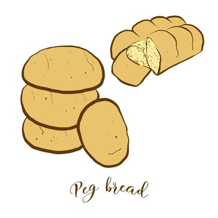 Colored drawing of Peg bread bread. Vector illustration of Leavened, lobed loaf food, usually known in Jamaica. Colored Bread sketches.
