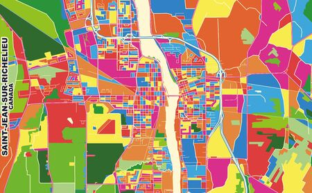 Colorful vector map of Saint-Jean-sur-Richelieu, Quebec, Canada. Art Map template for selfprinting wall art in landscape format.