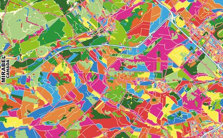 Colorful vector map of Mirabel, Quebec, Canada. Art Map template for selfprinting wall art in landscape format.
