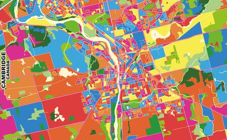 Colorful vector map of Cambridge, Ontario, Canada. Art Map template for selfprinting wall art in landscape format.
