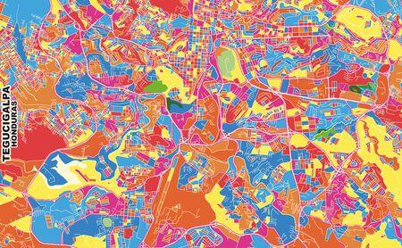 Colorful vector map of Tegucigalpa, Francisco Morazán, Honduras. Art Map template for selfprinting wall art in landscape format. 矢量图像