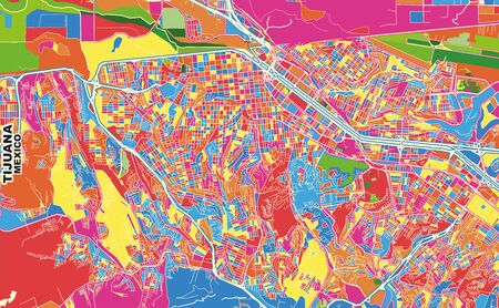Colorful vector map of Tijuana, Baja California, Mexico. Art Map template for selfprinting wall art in landscape format.