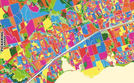 Colorful vector map of Pickering, Ontario, Canada. Art Map template for selfprinting wall art in landscape format.