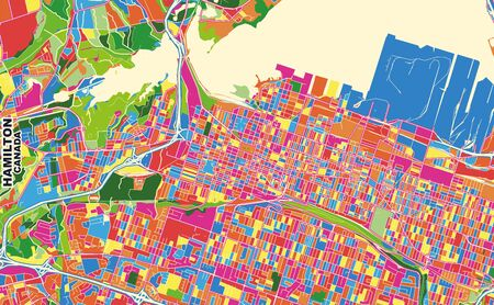 Colorful vector map of Hamilton, Ontario, Canada. Art Map template for selfprinting wall art in landscape format. Illustration